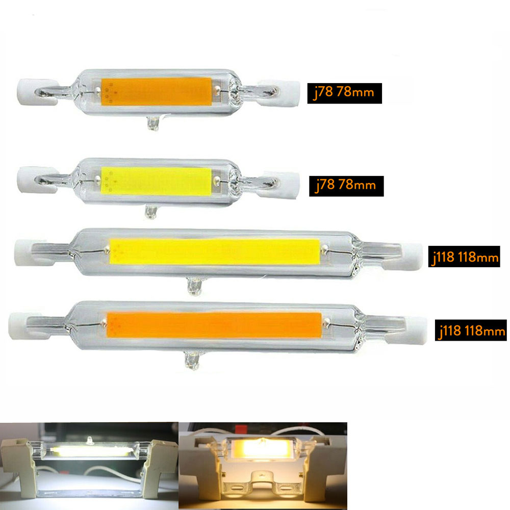 Dimmable <font><b>R7s</b></font> <font><b>LED</b></font> 78mm <font><b>118mm</b></font> 7W 12W 15W 25W COB Bulbs Ceramic Glass Tube Light Ampoule Replacement Halogen <font><b>Bombillas</b></font> Spotlight image