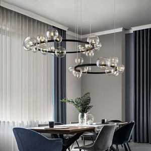 Artpad Nordic Black LED Chandelier Light 7/10 Glass Bubble Lampshade Dining room Cloth Store Hanging Chandelier Lighting G9 Bulb(China)