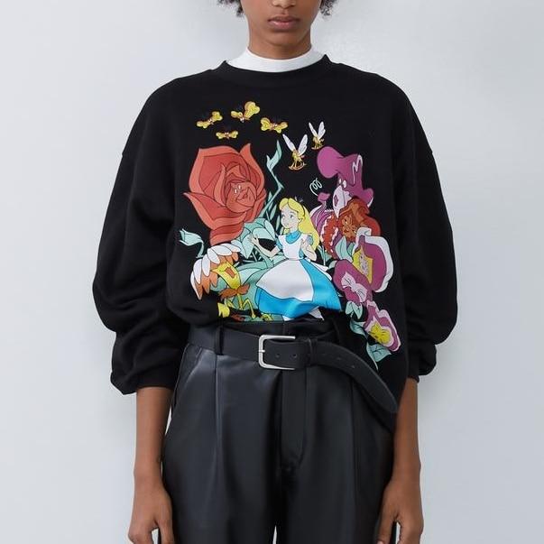 2019 Autumn Winter New Disney Alice In Wonderland Cartoon Print Pullovers Black O-Neck Streetwear Women Clothes Sweatshirt