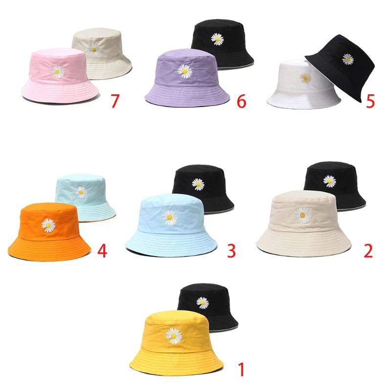 Unisex Summer Reversible Bucket Hat Daisy Sunflower Embroidered Candy Color Wide Brim Sun Protection Fisherman Cap