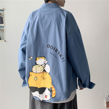 Men's Oversized Anime Shirts Mens Fashion Cotton Blouse 5xl Oversize Long Sleeves Dress Shirt for Men Man Clothing Casual