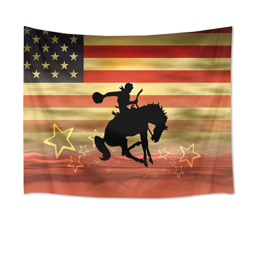 American Flag Cowboy Riding Horse Wall Hanging Western Wall Tapestry