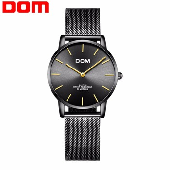 New DOM Ladies Watch Black Luxury Womens Leather Watches Top Brand Female Wrist Watches Waterproof Montres Femme