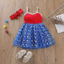 Одежда для малышей для девочек, День Независимости, летнее милое платье с пачкой + повязка на голову, детский ремень платье с фатиновой юбкой...