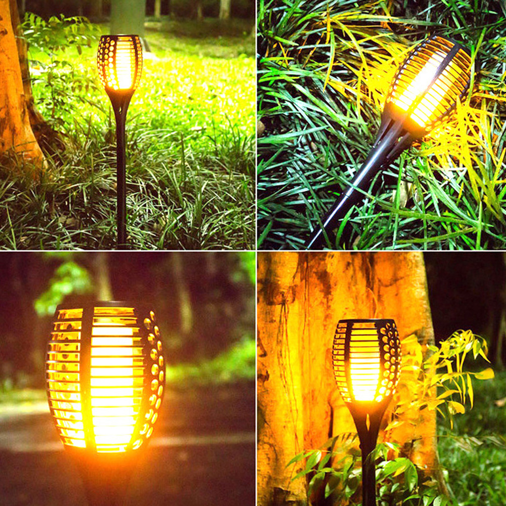 Torch Lamp Lawn Light Solar Powered IP65 Garden Pathways Waterproof Lighting Fixture 1900K 96LED Household Accessory in Solar Lamps from Lights Lighting