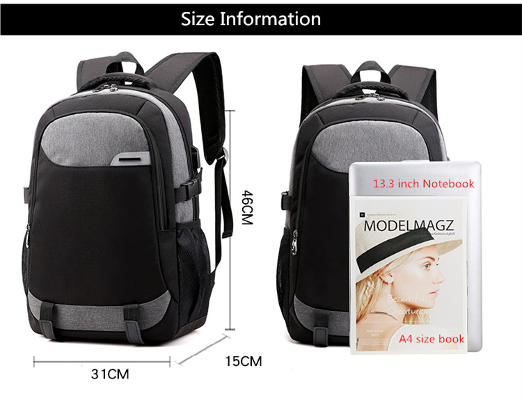NEW Student School Bag for boys USB bag teen waterproof large travel backpack