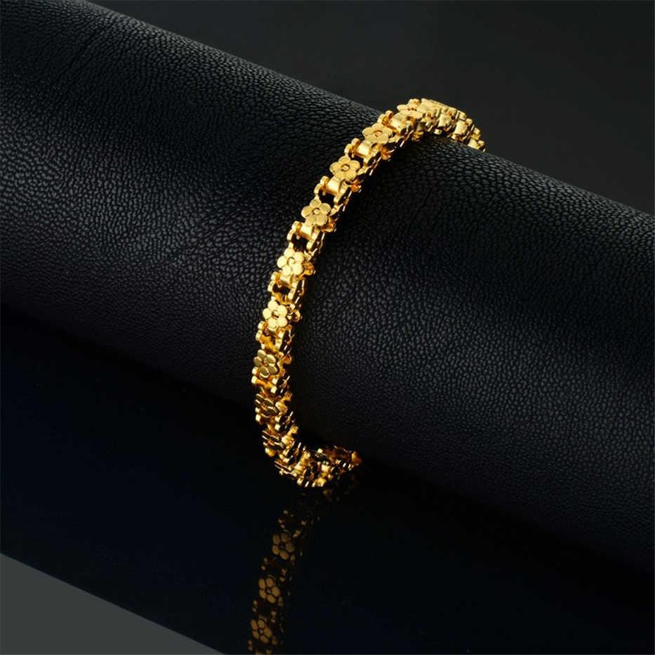 Altın bilezik Trendy paslanmaz çelik bisiklet zinciri kadınlar için bilezikler Femme Vintage bağlantı takı 7 'pulseras 5MM kadın bilezik