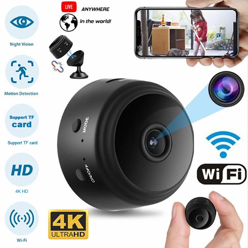 A9 HD <font><b>4K</b></font>/1080p wifi Ip <font><b>mini</b></font> <font><b>camera</b></font> small wireless home baby night vision security micro Motion Detection Ankai 3918EV200 Magneti image