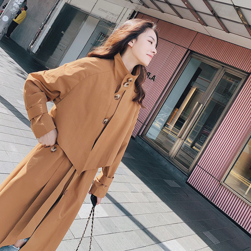 2019Trench coat oversize long   trench   korean   trench   coat for women spring autumn windbreaker college wind slimming temperament