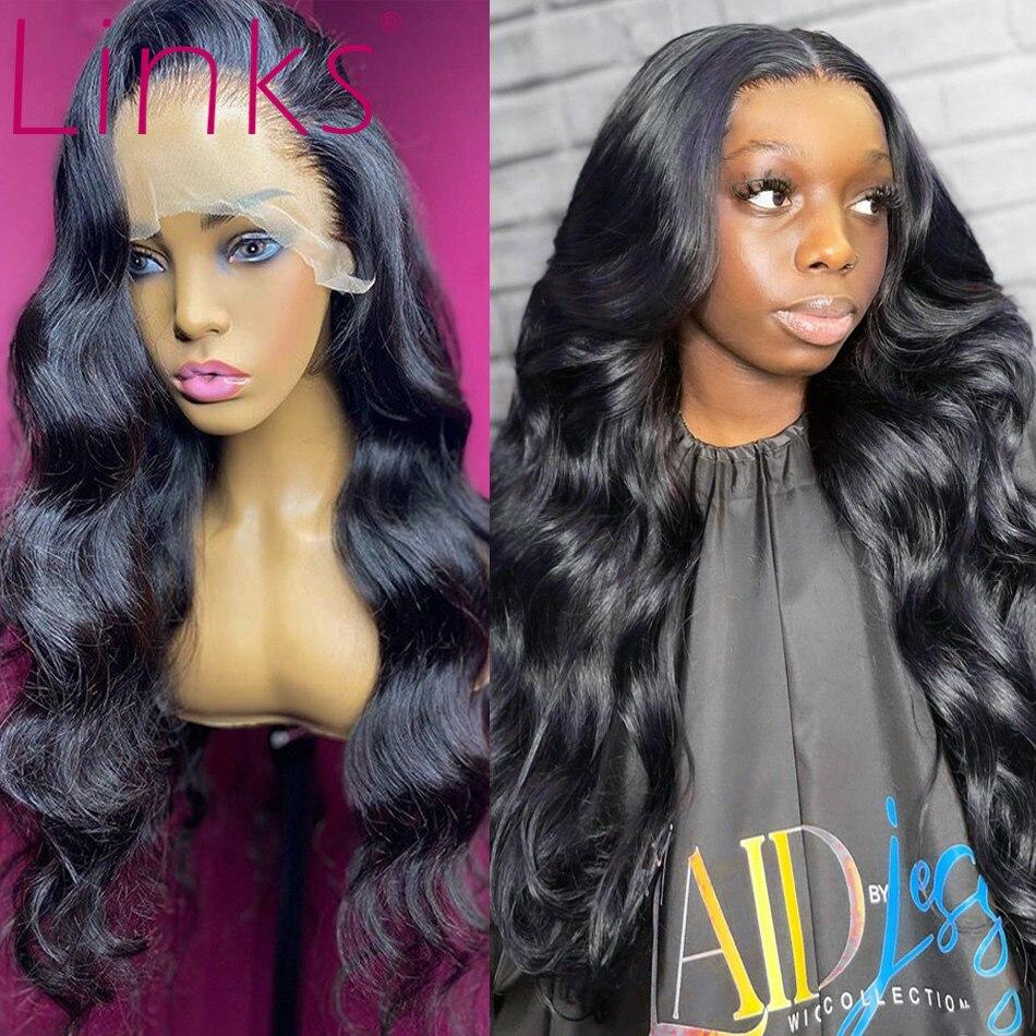 Человеческие волосы с волнистыми волосами Links 28, 30 дюймов, 13x6, кружевной передний парик для черных женщин, бразильский парик без повреждений ...