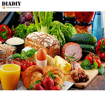 DIADIY Diy pintura de diamante cocina bordado de diamantes de decoración alimentos frutas y verduras punto de cruz 5D cuadrado completo redondo