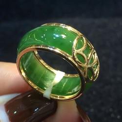 Güzel takı Unisex mücevherat yeşil yeşim taş yüzük boyutu: 7 #8 #