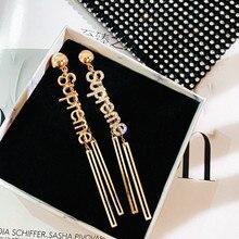 FYUAN Fashion Letter Rhinestone Drop Earrings for Women 2020 Long Tassel Crystal Dangle Earrings Party Jewelry Gifts korean christmas gifts crystal cherry drop earrings for women rhinestone cubic zirconia dangle earrings kolczyki fashion jewelry