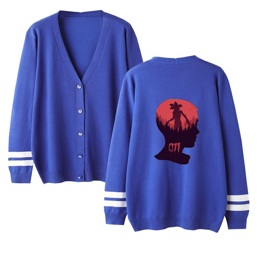 Women Stranger Things Cardigan Sweater Autumn Unisex Print Warm Sweater V-Neck Long Sleeve Crochet Knit Sweater Lovers Sweater