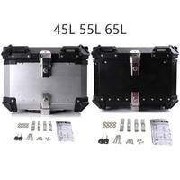 45L 65L Universal Motorcycle Rear Luggage Helmet Box Toolbox Trunk Storage Moto Tail Top Tool Key Lock Case Waterproof Removable