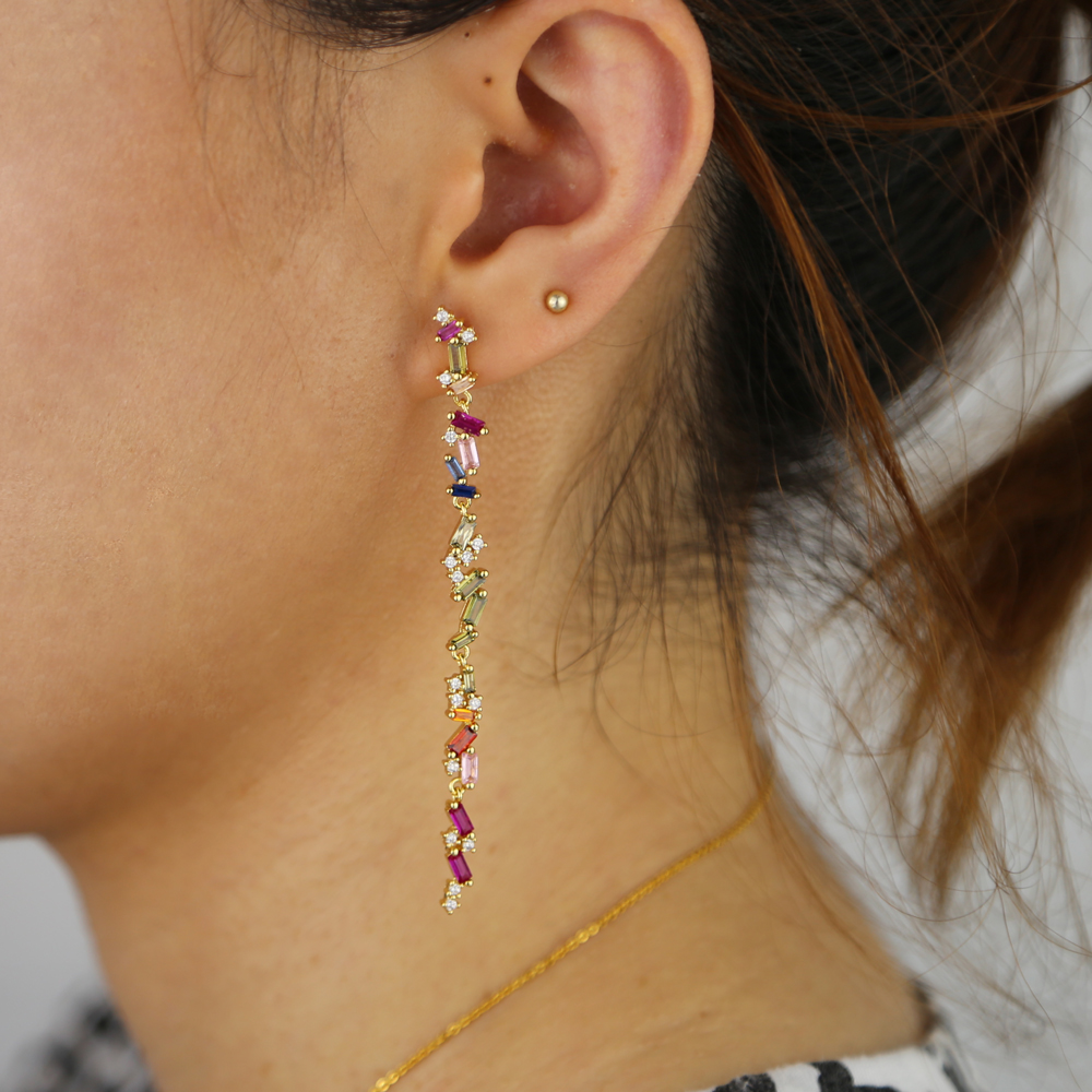 Fashion Jewelry Personality Temperament Metal Multicolored Cz Long Earrings Oorbellen 75mm Earrings For Women