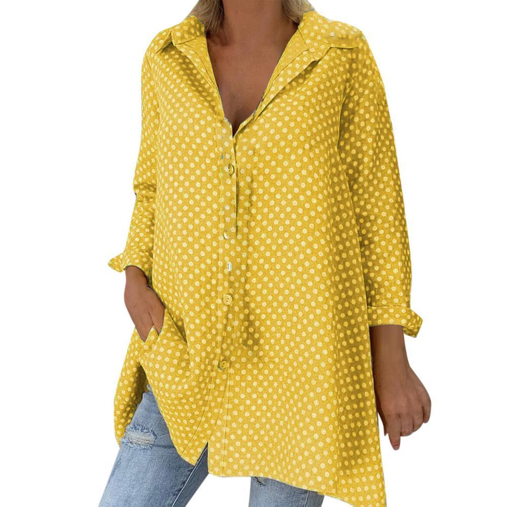 >Blouse 2019 Casual Women Loose Vintage Long Sleeve <font><b>Polka</b></font> <font><b>Dots</b></font> Shirt Fashion Women Autumn <font><b>Tops</b></font> Button <font><b>Top</b></font> Blouse Blusas Plus Size
