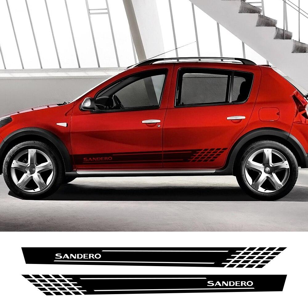 Pour Renault Dacia Sandero Stepway R4 Xplore Techroad Streetway confort Auto accessoires 2 pièces côté voiture autocollants vinyle Film décalque