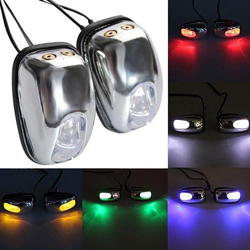 1 Pair Auto LED Light Windshield Windscreen Jet Spray Nozzle Wiper Washer Lamp