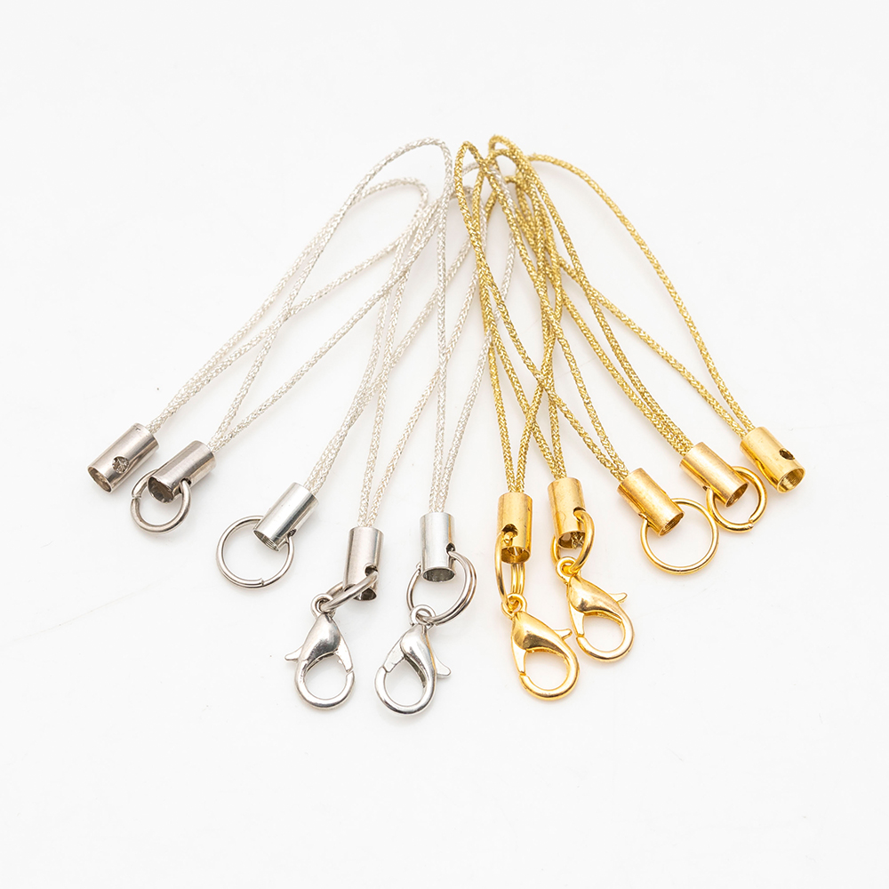 100pcs/lot Gold/silver Colors Lobster Clasp Lanyard Strap Cord Mobile Straps Charm  Key Ring Chain DIY Jewelry Making
