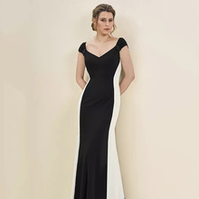 Eightree Sweetheart Neck Two-tone Dress Mother of the Bride Dresses Cap Sleeves with Beaded Detailing Mermaid Long Dress Mother