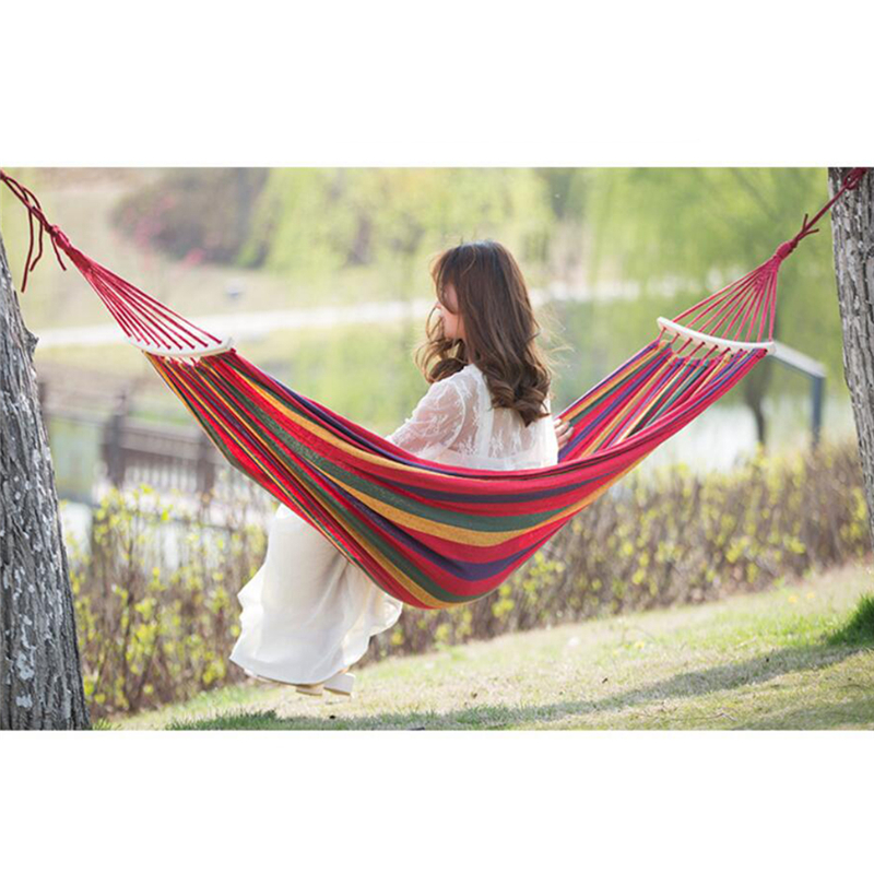2021 New On Sale Single/Double 280x150cm Garden Swings Outdoor Camping Hammock Hanging Chair Bed Portable