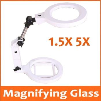 1.5X 5X 22pcs LED Lamps Desktop Folding LED Illuminated Magnifier Table Lamp Magnifying Glass Mobile Phone Circuit Board Repair