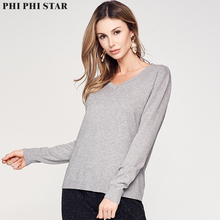 Phi Star Brand Women Sweaters Knitted V neck Pullover Ladies Fashion Bottoming Basic Thin Sweater