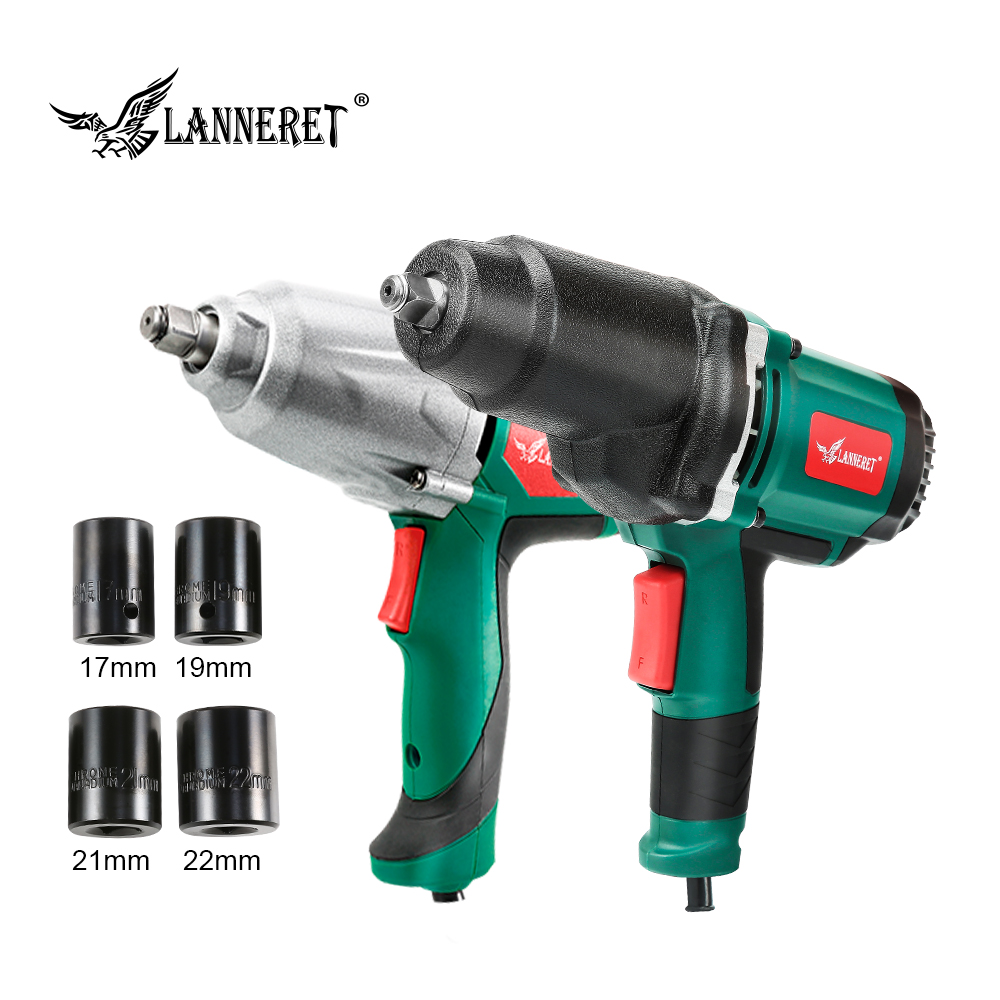 LANNERET Impact Wrench Max Torque 300-500Nm 1/2 Inch  Socket 450W/950W Electric Wrench Changing Tire Power Tool