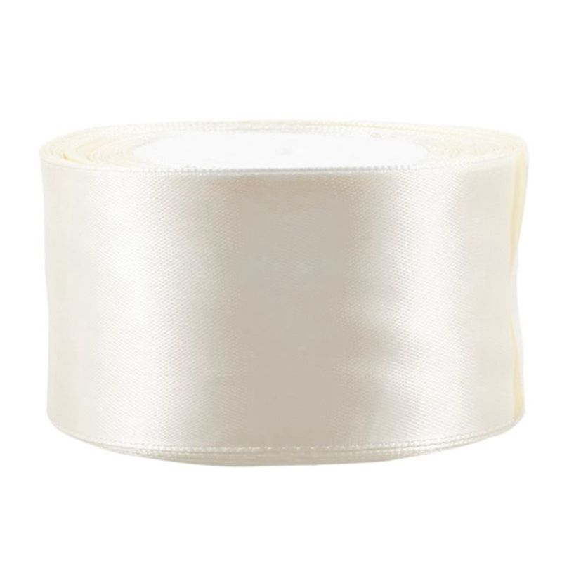 New 1 Roll (25 Yards/roll) 2'' (50mm) Single Face Satin Ribbon Webbing Decoration Gift Christmas Ribbons(Milk White)