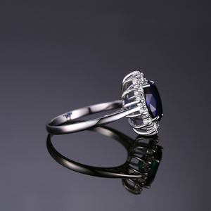 Image 3 - JewelryPalace Created Blue Sapphire Ring Princess Crown Halo Engagement Wedding Rings 925 Sterling Silver Rings For Women 2020