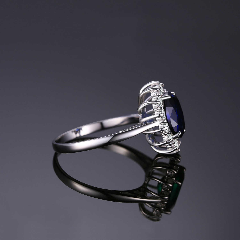 JewelryPalace oluşturulan mavi safir yüzük prenses taç Halo nişan alyanslar kadınlar için 925 ayar gümüş yüzük 2020