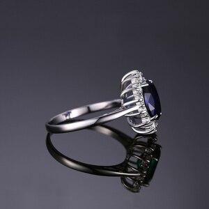 Image 3 - Jewelrypalace Gemaakt Blue Sapphire Ring Princess Crown Halo Engagement Trouwringen 925 Sterling Zilveren Ringen Voor Vrouwen 2020
