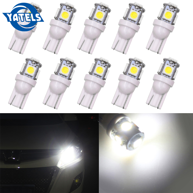 10 PCS T10 W5W LED Bulb 5050 5 SMD 194 168 Wedge Internal Side Clearance Indicator Reading Taillight Car Styling Accessories