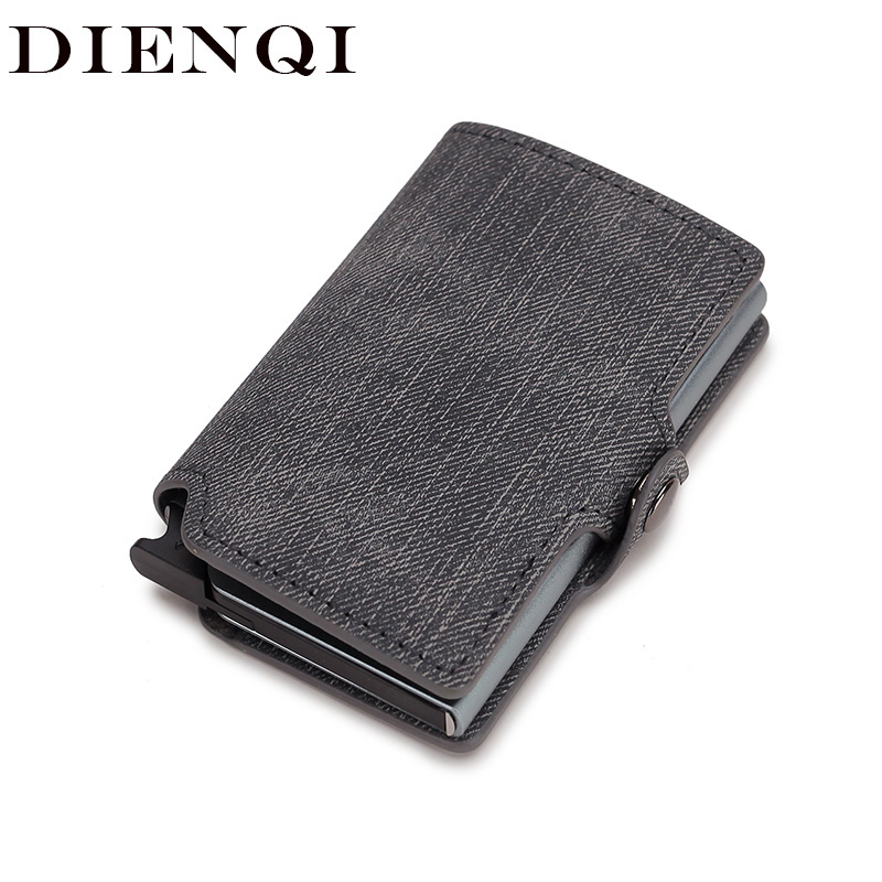 DIENQI Rfid Card Holder Men Wallets Money Bag Male Grey Short Purse 2020 Small Leather Slim Thin Mini Smart Ridge Wallet Magic