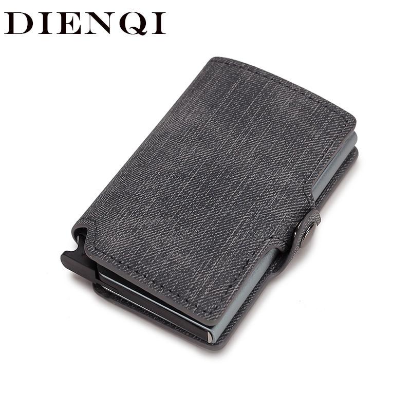 DIENQI Rfid Card Holder Men Wallets Money Bag Male Grey Short Purse 2020 Small Leather Slim Thin Mini Smart Ridge Wallet Magic
