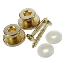 2pcs Golden Strap Button w/ Mounting Screw for Guitar Mandolin 2 chrome strap button locks screws washer replacement part for mandolin guitar
