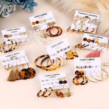 EN Boho – ensemble de boucles d'oreilles à pampilles acryliques pour femmes, bijoux à la mode, forme de cercle géométrique, 2020