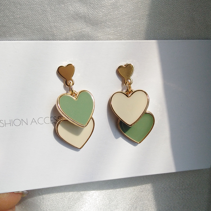 S925n needle Fashion Jewelry Earrings Delicate Design Double Heart White Green Dangle Drop Earrings For Girl Student Party Gift