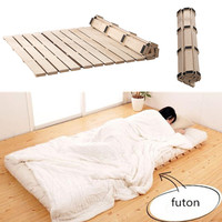 Folding Solid Wood Bed Breathable Damp proof Protect Waist Support Slats Beds For Tatami Bedroom Furniture