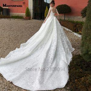 Image 2 - Vestido de boda de manga larga con espalda transparente, abendkleider 2020