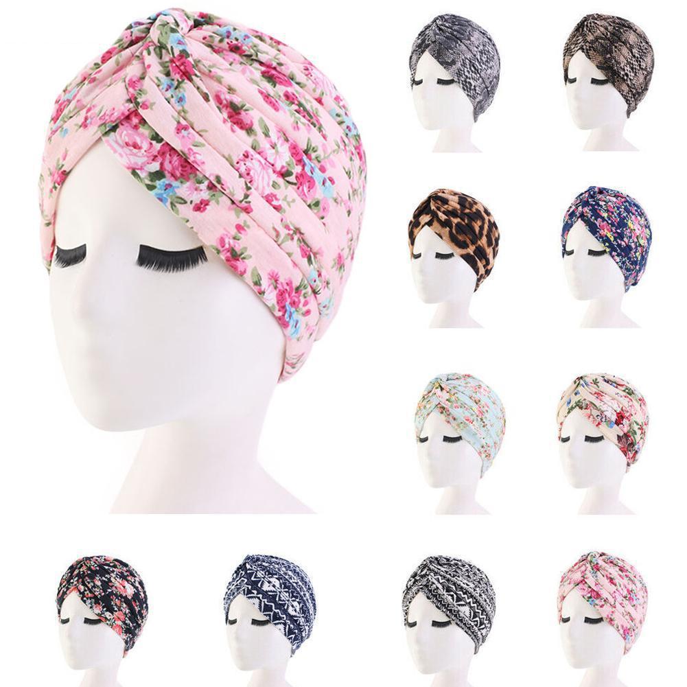 Pastoral Floral Print Turban Women National Wind Muslim Hat Bandana Chemotherapy Hat Sleep Caps Beanies Headwrap Fashion Casual