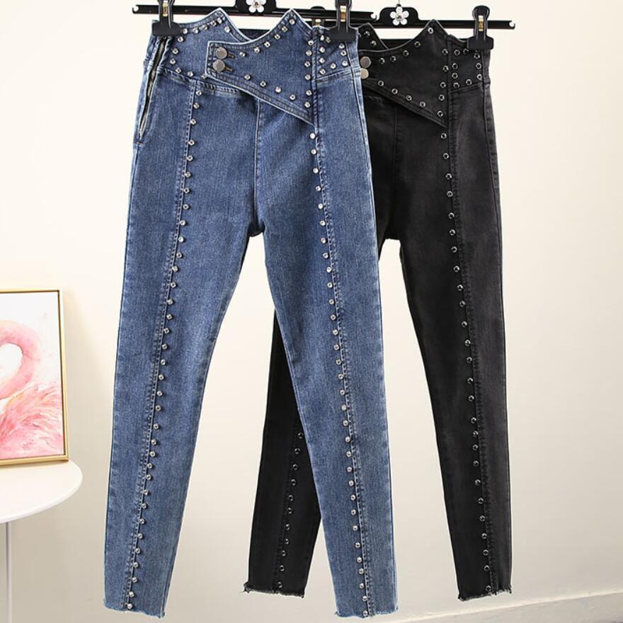 Heavy Work Beaded Side Zipper Irregular Jeasn Women High Waist Autumn Stretch Ankle Length Pencil Jeans