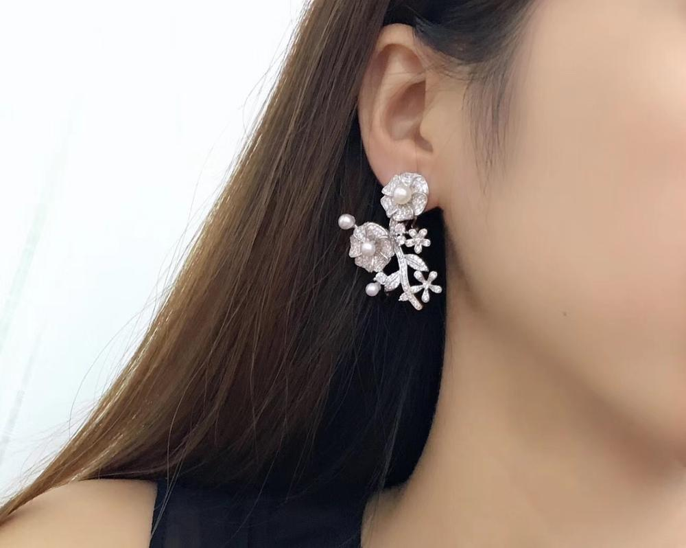 Naturel eau douce perle boucle d'oreille exagération 925 en argent sterling avec cubique zircon fleur boucle d'oreille mode fête bijoux
