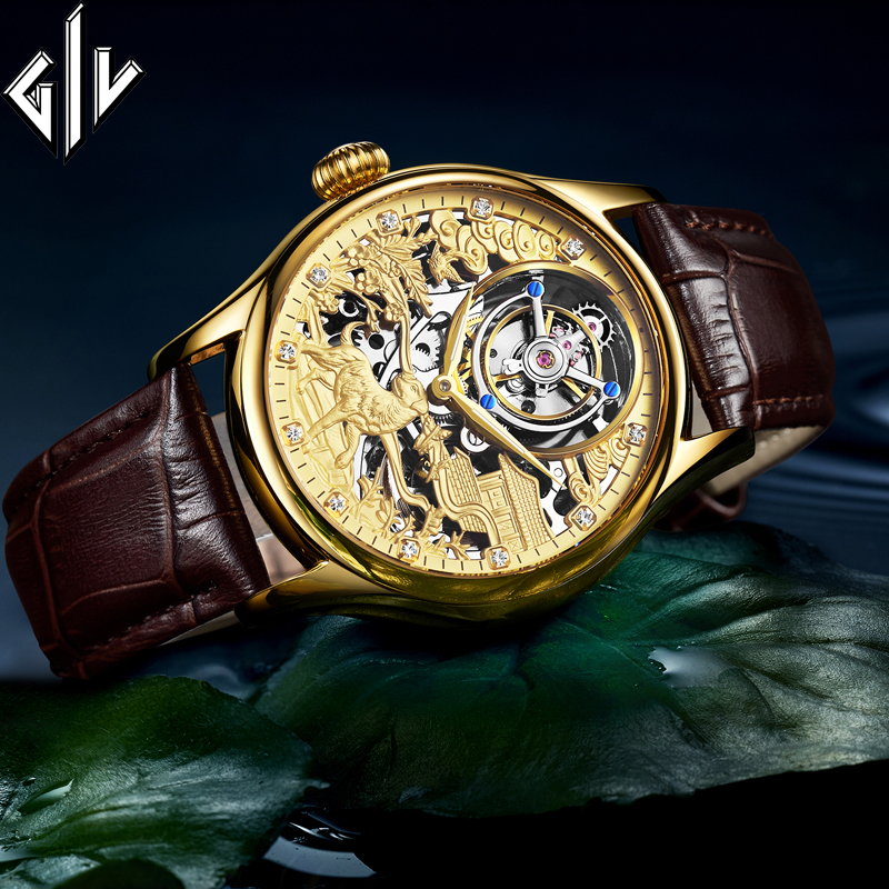 GIV Real Tourbillon Mechanical Hand Wind Watch Men Top Brand Luxury Sapphire Waterproof Skeleton Dog Dial Montre Homme Clock