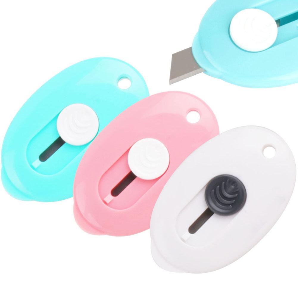 Portable Oval Mini Paper Cutter Retractable Knife Open Box Handcraft DIY Tool