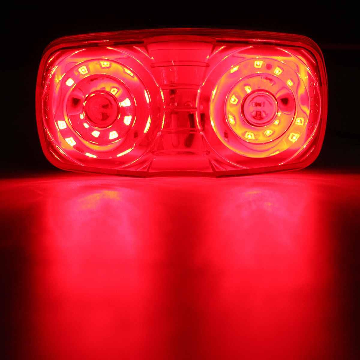 Hot DC 12V Trailer Truck Side Marker Clearance Light Double Bullseye Red Lens 10 Diodes Waterproof