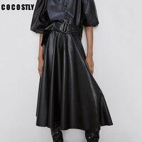 Winter PU Leather Skirts Women Fashion Faux Leather Skirt Women Elegant Tie Belt Waist Skirts Female Ladies