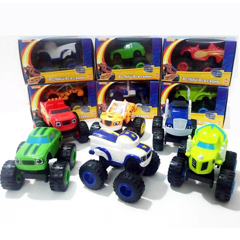 With High Quality Box 6pcs/set Blaze Car Russian Tractor Toy Vehicles Figure Blaze Toy Blaze The Monster Machines Et Les Starla