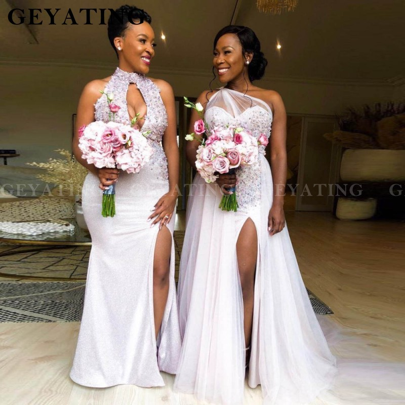 2020 Nigeria One Shoulder Mermaid African Bridesmaid Dresses Plus Size Sexy Side Slit Long Wedding Guest Party Dress Formal Gown